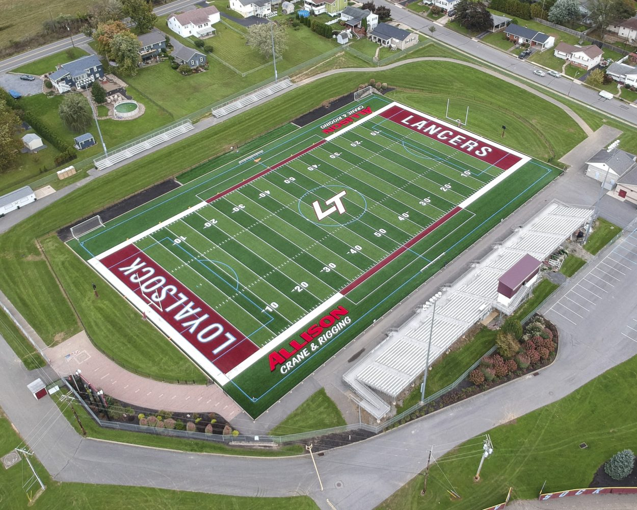 Football field ariel shot