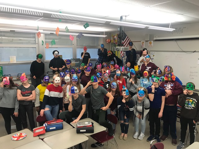 7th Graders Mask-Art & Spanish Co-teaching Class